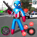 Spider Capitaine american Stickman Rope Hero Crime 1.2 APK (MOD, Unlimited Money)