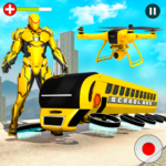 Flying School Bus Robot: Hero Robot Games 22 APK (MOD, Unlimited Money)